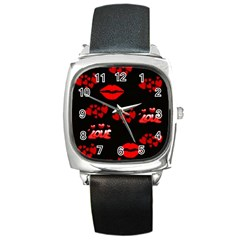 Love Red Hearts Love Flowers Art Square Leather Watch