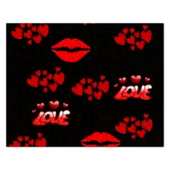 Love Red Hearts Love Flowers Art Jigsaw Puzzle (Rectangle)