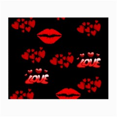 Love Red Hearts Love Flowers Art Glasses Cloth (Small)