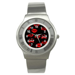 Love Red Hearts Love Flowers Art Stainless Steel Watch (Slim)