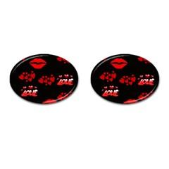 Love Red Hearts Love Flowers Art Cufflinks (oval)