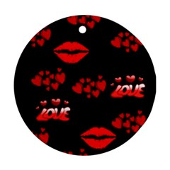 Love Red Hearts Love Flowers Art Round Ornament (Two Sides)