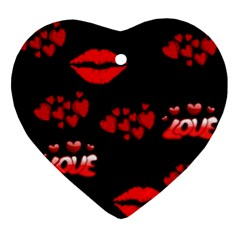 Love Red Hearts Love Flowers Art Heart Ornament (Two Sides)