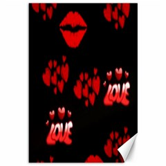 Love Red Hearts Love Flowers Art Canvas 12  x 18  (Unframed)