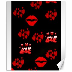 Love Red Hearts Love Flowers Art Canvas 20  X 24  (unframed)