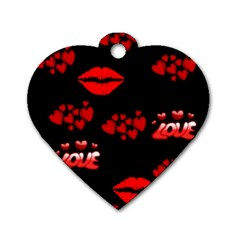 Love Red Hearts Love Flowers Art Dog Tag Heart (One Sided)