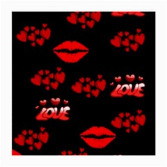 Love Red Hearts Love Flowers Art Glasses Cloth (medium, Two Sided)