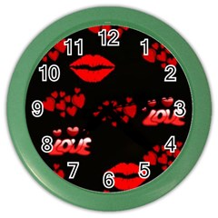 Love Red Hearts Love Flowers Art Wall Clock (Color)