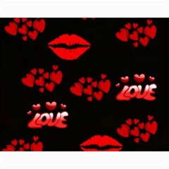 Love Red Hearts Love Flowers Art Canvas 11  x 14  (Unframed)