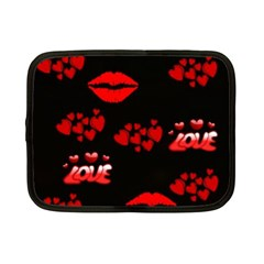 Love Red Hearts Love Flowers Art Netbook Sleeve (Small)