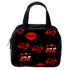 Love Red Hearts Love Flowers Art Classic Handbag (one Side)