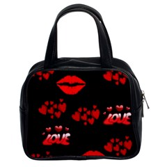 Love Red Hearts Love Flowers Art Classic Handbag (two Sides)
