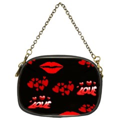 Love Red Hearts Love Flowers Art Chain Purse (One Side)