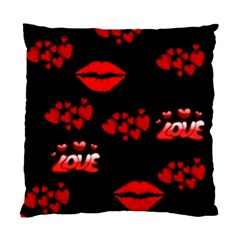 Love Red Hearts Love Flowers Art Cushion Case (Two Sided)