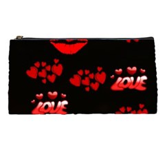 Love Red Hearts Love Flowers Art Pencil Case