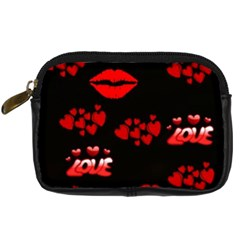 Love Red Hearts Love Flowers Art Digital Camera Leather Case