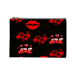 Love Red Hearts Love Flowers Art Cosmetic Bag (Large)