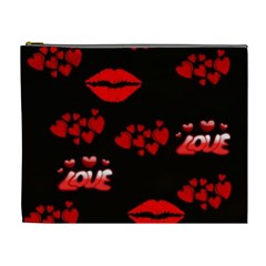 Love Red Hearts Love Flowers Art Cosmetic Bag (xl)