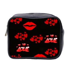 Love Red Hearts Love Flowers Art Mini Travel Toiletry Bag (Two Sides)