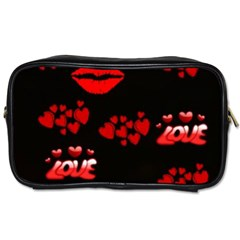 Love Red Hearts Love Flowers Art Travel Toiletry Bag (Two Sides)