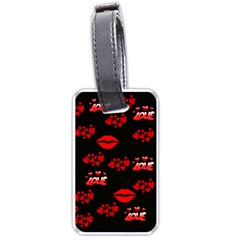 Love Red Hearts Love Flowers Art Luggage Tag (Two Sides)