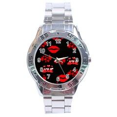 Love Red Hearts Love Flowers Art Stainless Steel Watch
