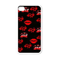 Love Red Hearts Love Flowers Art Apple iPhone 4 Case (White)