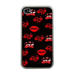 Love Red Hearts Love Flowers Art Apple iPhone 4 Case (Clear)