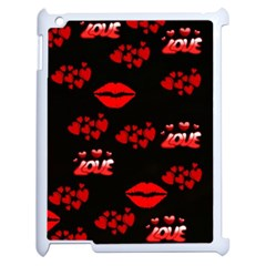 Love Red Hearts Love Flowers Art Apple iPad 2 Case (White)