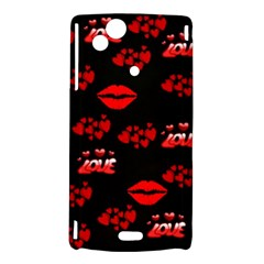Love Red Hearts Love Flowers Art Sony Xperia Arc Hardshell Case