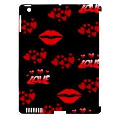 Love Red Hearts Love Flowers Art Apple iPad 3/4 Hardshell Case (Compatible with Smart Cover)
