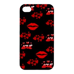 Love Red Hearts Love Flowers Art Apple Iphone 4/4s Premium Hardshell Case
