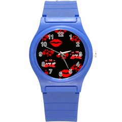 Love Red Hearts Love Flowers Art Plastic Sport Watch (small)