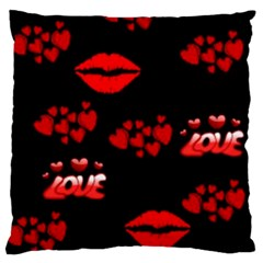 Love Red Hearts Love Flowers Art Large Cushion Case (Two Sided)