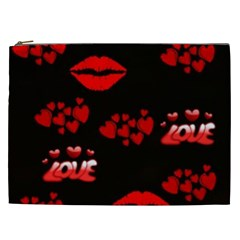 Love Red Hearts Love Flowers Art Cosmetic Bag (xxl)