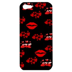 Love Red Hearts Love Flowers Art Apple Iphone 5 Hardshell Case