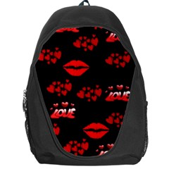 Love Red Hearts Love Flowers Art Backpack Bag