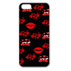 Love Red Hearts Love Flowers Art Apple Seamless iPhone 5 Case (Clear)