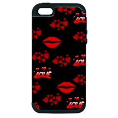 Love Red Hearts Love Flowers Art Apple iPhone 5 Hardshell Case (PC+Silicone)