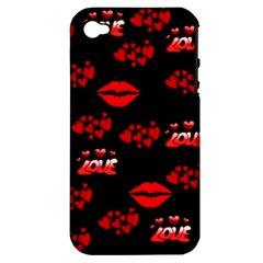 Love Red Hearts Love Flowers Art Apple iPhone 4/4S Hardshell Case (PC+Silicone)