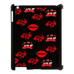 Love Red Hearts Love Flowers Art Apple Ipad 3/4 Case (black)