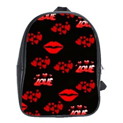 Love Red Hearts Love Flowers Art School Bag (XL)