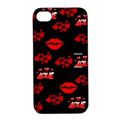 Love Red Hearts Love Flowers Art Apple iPhone 4/4S Hardshell Case with Stand