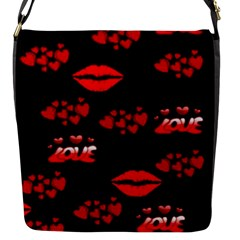 Love Red Hearts Love Flowers Art Flap Closure Messenger Bag (Small)
