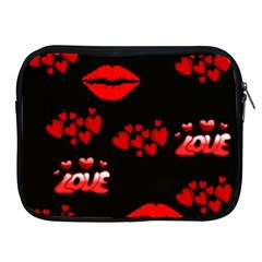 Love Red Hearts Love Flowers Art Apple Ipad Zippered Sleeve
