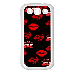 Love Red Hearts Love Flowers Art Samsung Galaxy S3 Back Case (white)