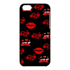 Love Red Hearts Love Flowers Art Apple iPhone 5C Hardshell Case