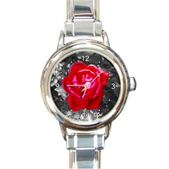Red Rose Round Italian Charm Watch