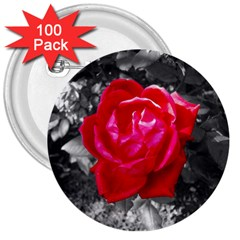 Red Rose 3  Button (100 pack)