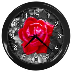 Red Rose Wall Clock (Black)